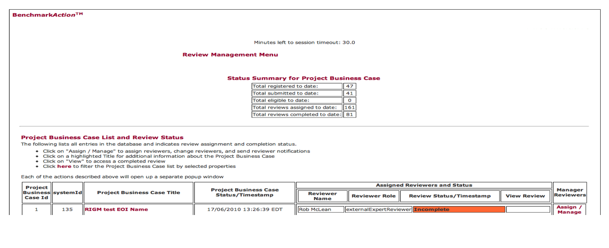 Monitoring Review Status
